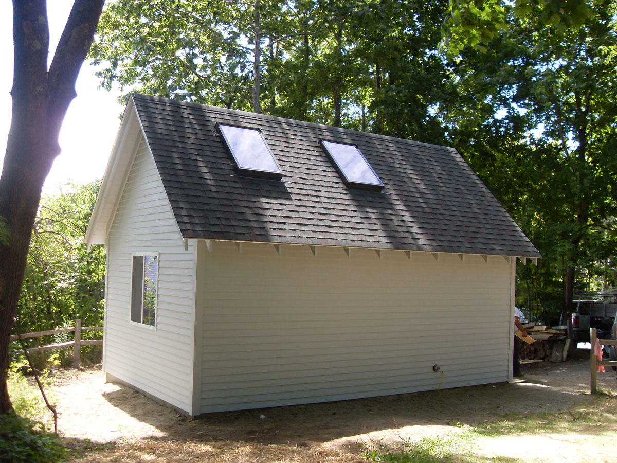 Built writing studio with skylights